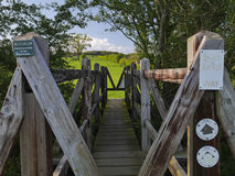Wooden Bridge on the Nene Way Footpath Stock Images