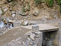 Wooden bridge in Nepal Royalty Free Stock Images