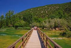 Wooden Bridge next to Skradinski Buk at Krka National Park Stock Images