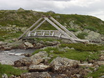Wooden bridge in norway Stock Photo