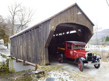 Wooden bridge with old car Stock Image