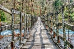 Oldest wooden bridge over a mountain river in Krasnodar Krai Stock Image