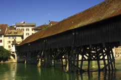 Wooden bridge of the Old town of Olten Royalty Free Stock Photos