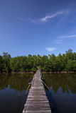 Wooden bridge. Old wood bridge cross the river and blue sky as a backgroundn Stock Photos
