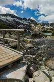 Wooden bridge over alpine lake in Tatra mountains Stock Image