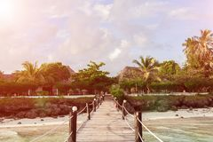 Wooden bridge over the beach that leads to the palm trees. stock photo