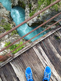 Wooden bridge over the bed of soca river Royalty Free Stock Photos