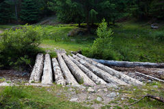 Wooden bridge over a creek Stock Image