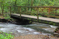 Wooden bridge over the creek Stock Image