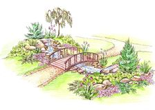 Wooden bridge over the creek. Wooden bridge over the stream in a green park with some stones and flowers royalty free illustration