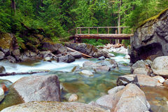 Wooden bridge over Deception Creek Stock Photos