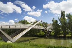 Wooden bridge. Over donau river in wien Royalty Free Stock Images
