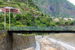 Wooden bridge. Over the dry bed of a mountain river on the island of Madeira stock image