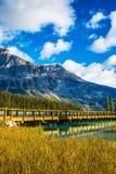 Wooden bridge over Emerald Lake Stock Image