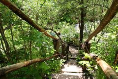 Wooden bridge over Erma River Royalty Free Stock Photo
