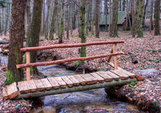 Wooden Bridge Over Forest Brook Royalty Free Stock Images