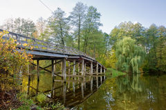 The wooden bridge over the forest lake Royalty Free Stock Photos