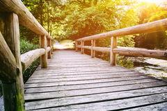 Wooden bridge over forest river Stock Photography