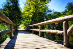 Wooden bridge over forest river Stock Images