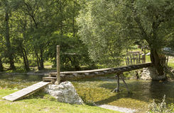 Wooden bridge. Over Gradac river Royalty Free Stock Image