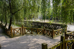 Wooden bridge over irrigation canal in summer Royalty Free Stock Images