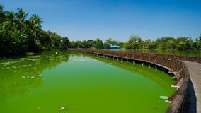 Wooden bridge over Kandawgyi lake in Yangon Myanmar Royalty Free Stock Image