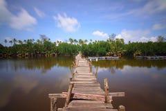 Wooden bridge over lake Stock Photo