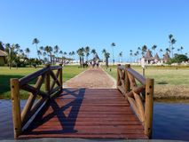 Wooden bridge over lake. Landscaped wooden bridge over lake or river with palm trees and hotel complex buildings in background Royalty Free Stock Image