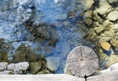 Wooden bridge over a lake. Of crystal clear water on a sunny day Royalty Free Stock Photos