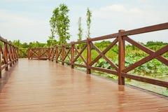 Wooden bridge, wood deck Royalty Free Stock Images