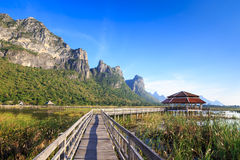 Wooden bridge over a lake in Sam Roi Yod National Park Stock Photography