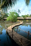 Wooden bridge over a lake in tropical park. The wooden bridge through a pond in well-groomed park at luxury tropical park. Vietnam Stock Photo