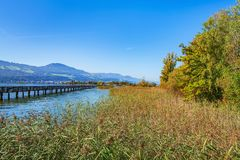 Wooden Bridge Over Lake Zurich In Switzerland Stock Images