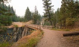 Wooden Bridge over Meadow Creek Gorge for hiking and horseback packing trail in the Bob Marshall Wilderness area in Montana USA. Wooden Bridge over Meadow Creek Royalty Free Stock Image