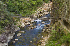 Wooden bridge over mountain spring Stock Photo