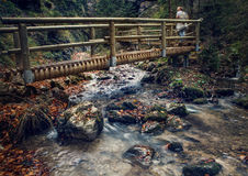 Wooden bridge over the mountain stream Stock Photos