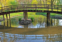 Wooden bridge. Over the pond in the park Royalty Free Stock Photography