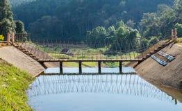 Wooden bridge over on reservoir Stock Photo
