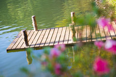 Wooden bridge over the reservoir at Pang ung, Mae hong son Royalty Free Stock Images