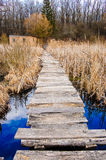 Wooden bridge over the river. Wooden bridge over the spring river Stock Photography