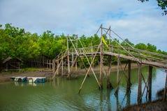 Wooden bridge over the river and boat, Panay island, Philippines. Bakhawan eco-park. Wooden bridge over the river and boat in the Bakhawan eco-park, Panay island Stock Photography