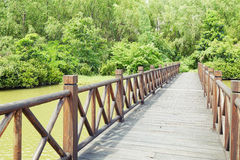 Wooden wood bridge Royalty Free Stock Images
