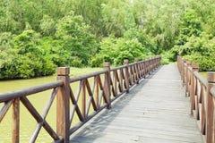 Wooden wood bridge Royalty Free Stock Images
