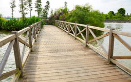 Wooden wood bridge Stock Image