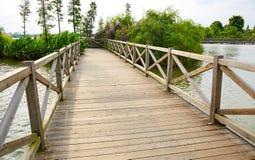 Wooden wood bridge Stock Image