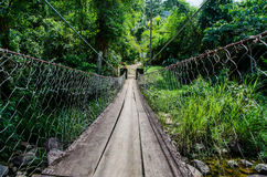 Wooden bridge. Over the river path crossing danger courage daring radical adventure Stock Images