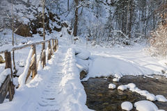 Wooden bridge over the river in snow in winter forest Royalty Free Stock Images
