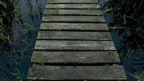 Wooden bridge over river. Walking on a wooden bridge across river. stock video