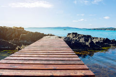 Wooden Bridge Over The Sea stock photography
