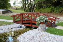 Wooden bridge. Over a small brook royalty free stock images